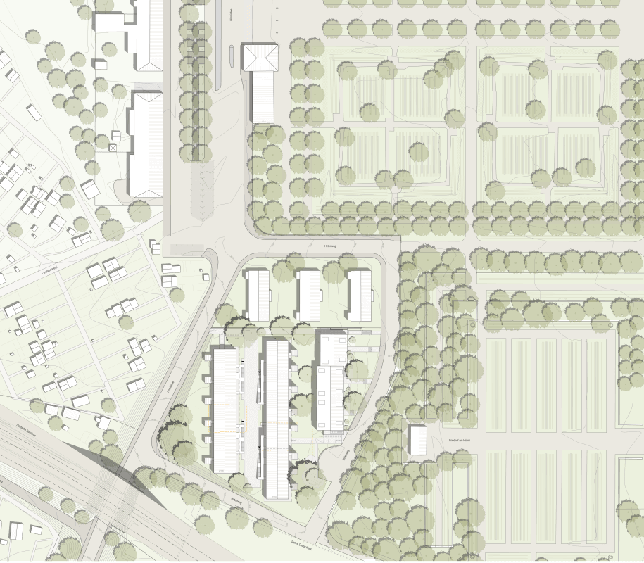 "2nd prize, competition ""Kapla"", Hirtenweg, Riehen, 2018 – situation plan."