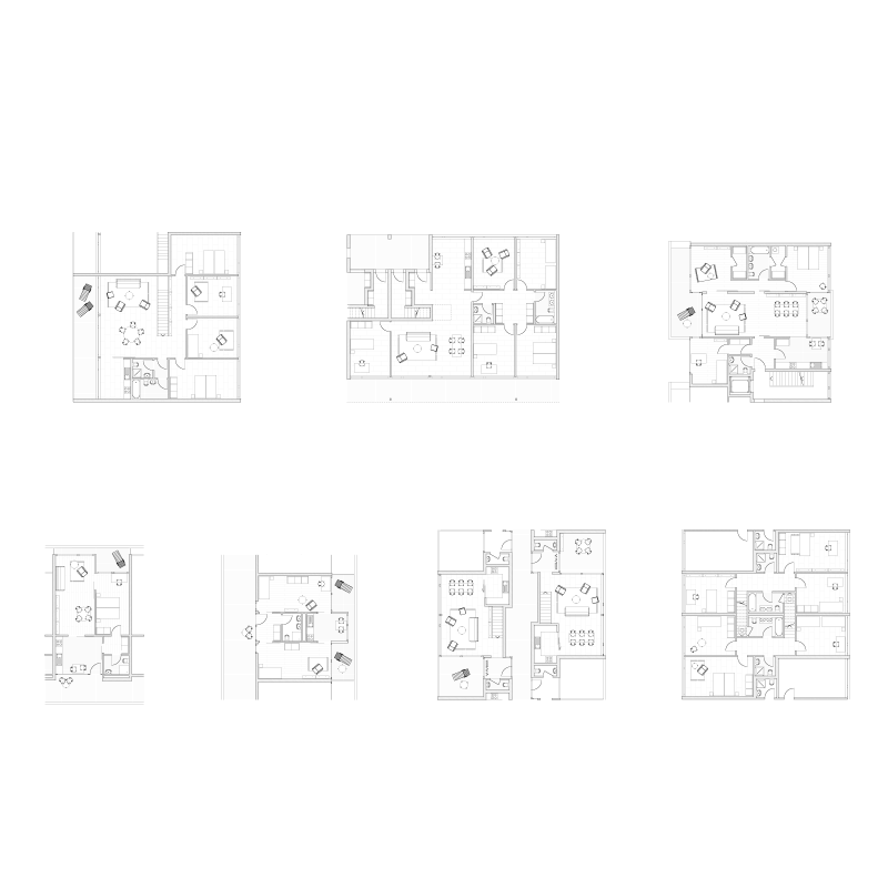 "Ringlet, ringlet on the wall. Competition ""Grünwald"", Zurich, Switzerland, 2004. Apartment floor plans."